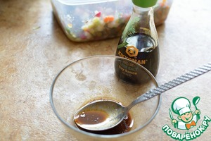 For the filling mix the ingredients, pour over salad, stir and refrigerate for 30 minutes;