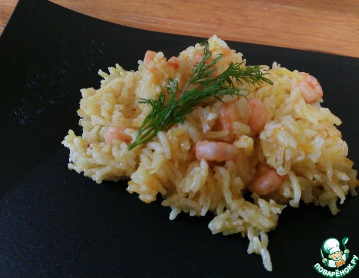 Рецепт: Плов с креветками из риса Басмати