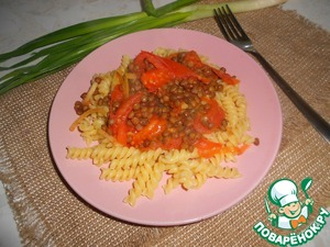 On dish put the pasta, sprinkle the lentils with the tomatoes.  Bon appetit!