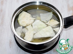 2. В кипящую не соленую воду кладем картофель и белокочанную капусту, отвариваем до полуготовности.