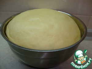 When the dough has risen, it is necessary to press down and put in a bowl, cover with a lid or foil. Leave until the next rise.