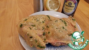 Here is prepared the 1st half of chicken.