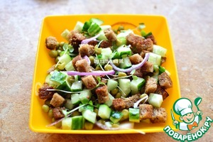 Add croutons - mix well;