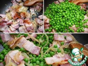 Add to the bacon, black pepper and red chili.  Add green peas to the bacon.  Fry on high heat for a few minutes, stirring constantly.  Salt to taste.  Serve hot. If there is any doubt that the peas will not have time to prepare as I have, boil it in salted water for 5 min.