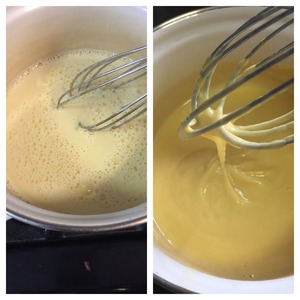 Pour back into saucepan and, stirring constantly, cook over low heat until lightly thickened. About 2-3 minutes.