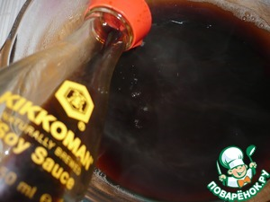 """Fungal strain the broth and bring to a boil, add soy sauce """"Kikkoman""""."""