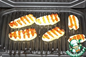 Halloumi is to grill or dry pan. Cut into pieces.