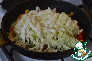 Add the chopped cabbage.  Mix well.
