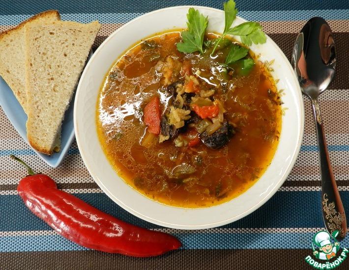 Рецепт: Постный рассольник с грибами и рисом