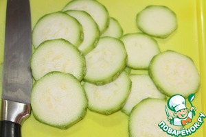 Zucchini cut into thin slices