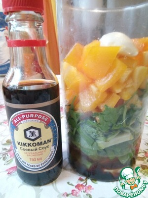 Pour Kikkoman soy sauce, lemon juice, add the sliced Chile pepper (or pour chili sauce 1 tbsp., or 0.5 CL. pepper).