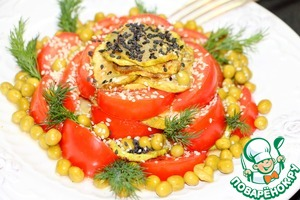 Garnish with sprigs of dill, sprinkle with sesame seeds.