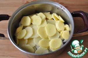 Далее кладём нарезанный тонкими кружками картофель. Заливаем водой, чтобы она доходила до картофеля. Ставим на плиту. Доводим до кипения и при закрытой крышке варим на медленном огне 30 минут.