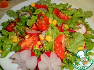 Top spread corn, lightly lift the salad with the tip of a knife.