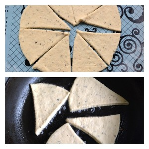 The work surface propylite with flour and roll out the dough into a circle. Cut the circle into 8 sectors. The rolled dough thickness of 0.7-1 cm the Pan is well heated, fry the scones on both sides until Golden brown in vegetable oil with the lid closed.