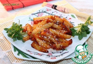 7. Serve hot potatoes to the table and optionally sprinkle with roasted sesame seeds.   Bon appetit!