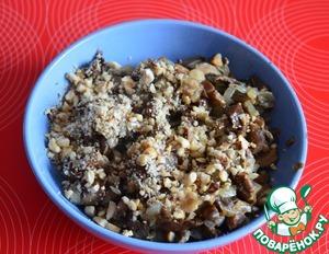 Mix mushroom stuffing, nuts, salt and pepper to taste.