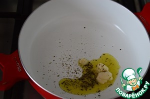 In skillet, heat olive oil, add a crushed clove of garlic and a blend of Italian herbs. Garlic to throw away.