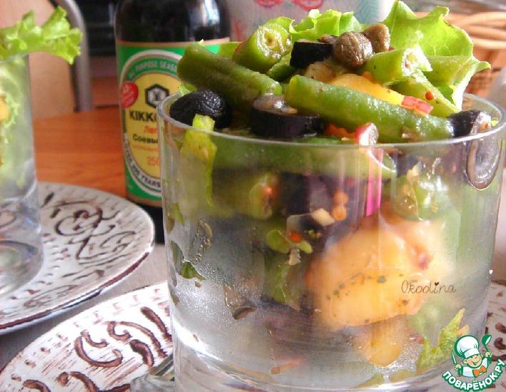 Рецепт: Салат с зелёной фасолью
