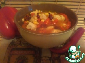 In a saucepan pour water, bring to the boil, add the browned vegetables, tomatoes, seasonings, salt, cook for 10 minutes. After you remove from heat, add the beans and corn, let stand and eat with pleasure. Bon appetit!
