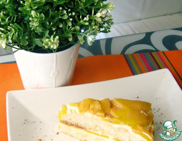 Рецепт: Бисквитный торт Персиковый рай