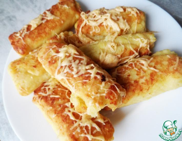 Рецепт: Картофельные рулетики с мясом за 30 минут