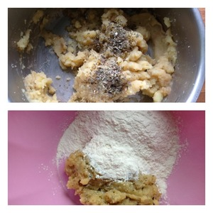Add spices and mix thoroughly potatoes. Allow to cool to room temperature. Add to the mashed potatoes the flour and baking powder. Quickly knead the dough. The dough turns elastic, still warm and does not stick to hands.