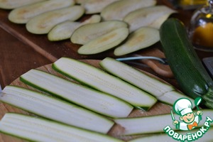 Eggplant and zucchini cut into thin, long strips.  Add salt and leave to sweat.