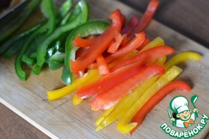 Half peppers cut into strips.
