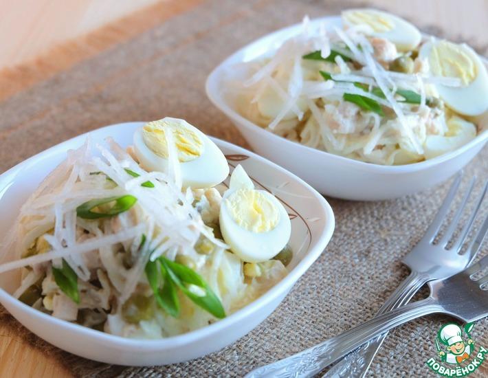 Рецепт: Салат с дайконом и курицей