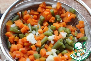 12. Meanwhile, our vegetables were cooked. Recline them in a colander.