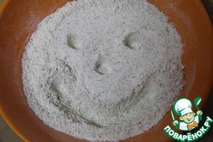 В отдельной емкости смешать муку, соль, овсянку и разрыхлитель.