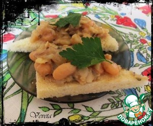 This dish is served on toast, garnished with parsley.