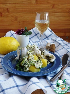 Serve the fish hot, with boiled potatoes, drenched in butter sauce. A glass of white wine will create a good mood!