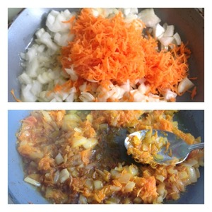 Onion cut into cubes, carrots grate on a small grater.  To put fry vegetables in small amount of vegetable oil. When the onions and carrots begin to fry, add soy sauce.  Mix and allow liquid to completely evaporate.
