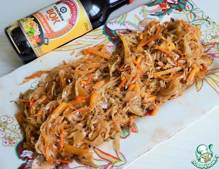 Рецепт: Жареная квашеная капуста Пряная