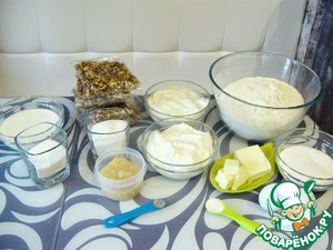 The oil should stay at room temperature for at least 15 minutes. Sour cream refrigerate for 30 minutes. Heat up water for the water bath. If walnuts are wet, you must dry them in the oven. Start cooking!