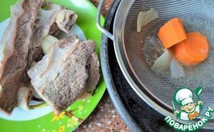 Готовое мясо достать из бульона, промыть горячей водой. ( Это смоет пенку, мелкие косточки и т. п.).    Мясо выложить на тарелку, бульон процедить.   Поставить бульон вновь на огонь.