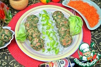 Рецепт: Лососево-шпинатные биточки на пару