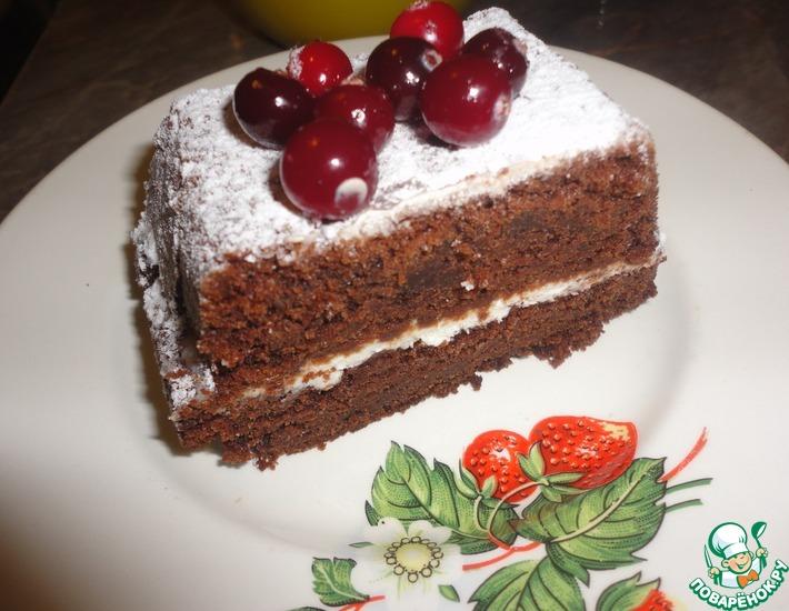 Рецепт: Шоколадный брауни с творожным сыром