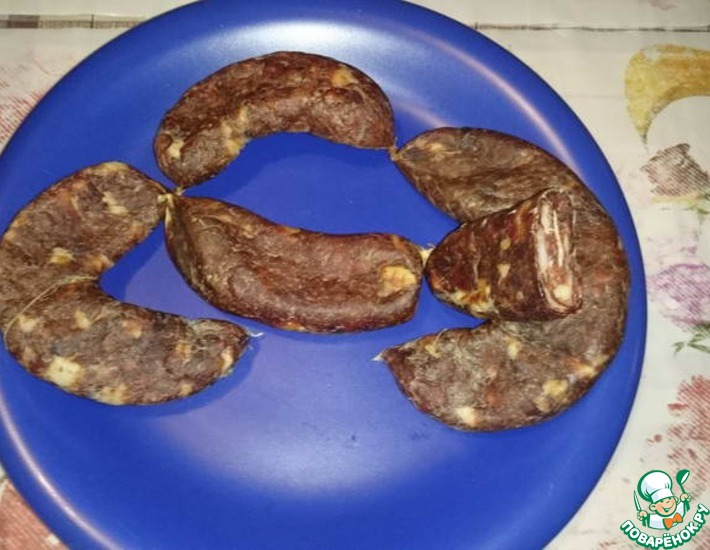 Рецепт: Домашняя сыровяленая колбаса