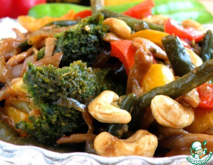 Рецепт: Брокколи с грибами и овощами
