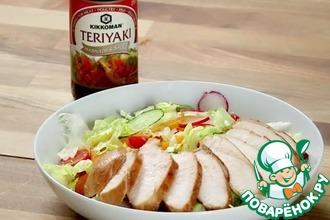 Рецепт: Курица Терияки c разноцветным салатом