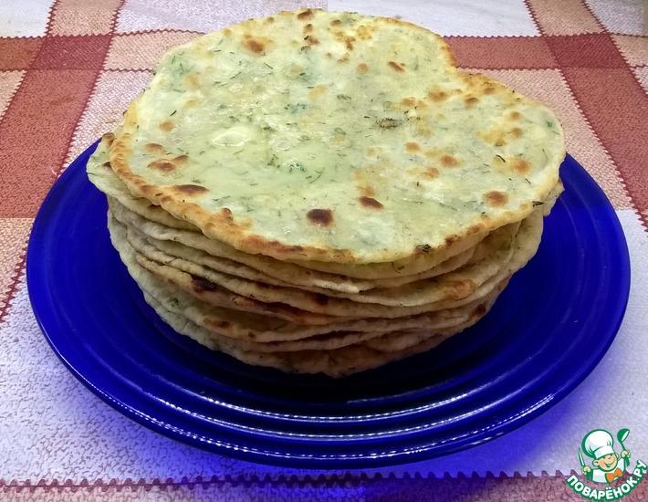 Рецепт: Лепешки с зеленью и чесноком