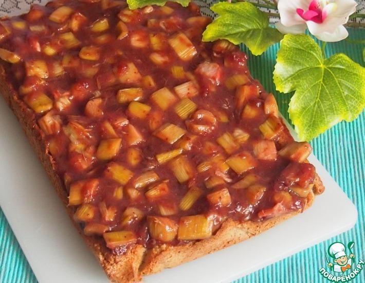 Рецепт: Ореховый пирог с ревенем