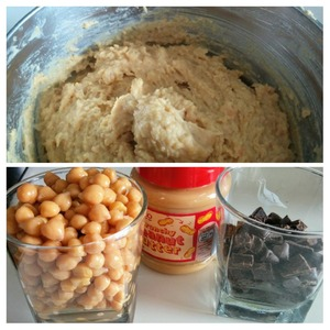 All ingredients except chocolate in a food processor or blender interrupting in a smooth, homogeneous mass.