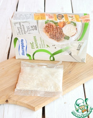 """1 sachet* Jasmine rice TM """"Mistral"""" drop into boiling water and boil for 15 minutes. Water lightly salt   * weight of 1 package is 62.5 g (dry)"""