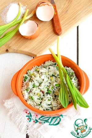 Quick easy dinner is ready!    Instead of garlic you can use garlic arrows or green onions from the garden!