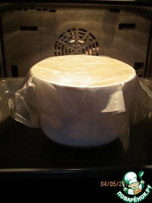 Миску с тестом накрываем полиэтиленовым пакетом и ставим в духовку на 20-25 минут для того, чтобы тесто подошло. Духовку предварительно разогреть до 50 градусов и выключить, только потом ставим тесто!