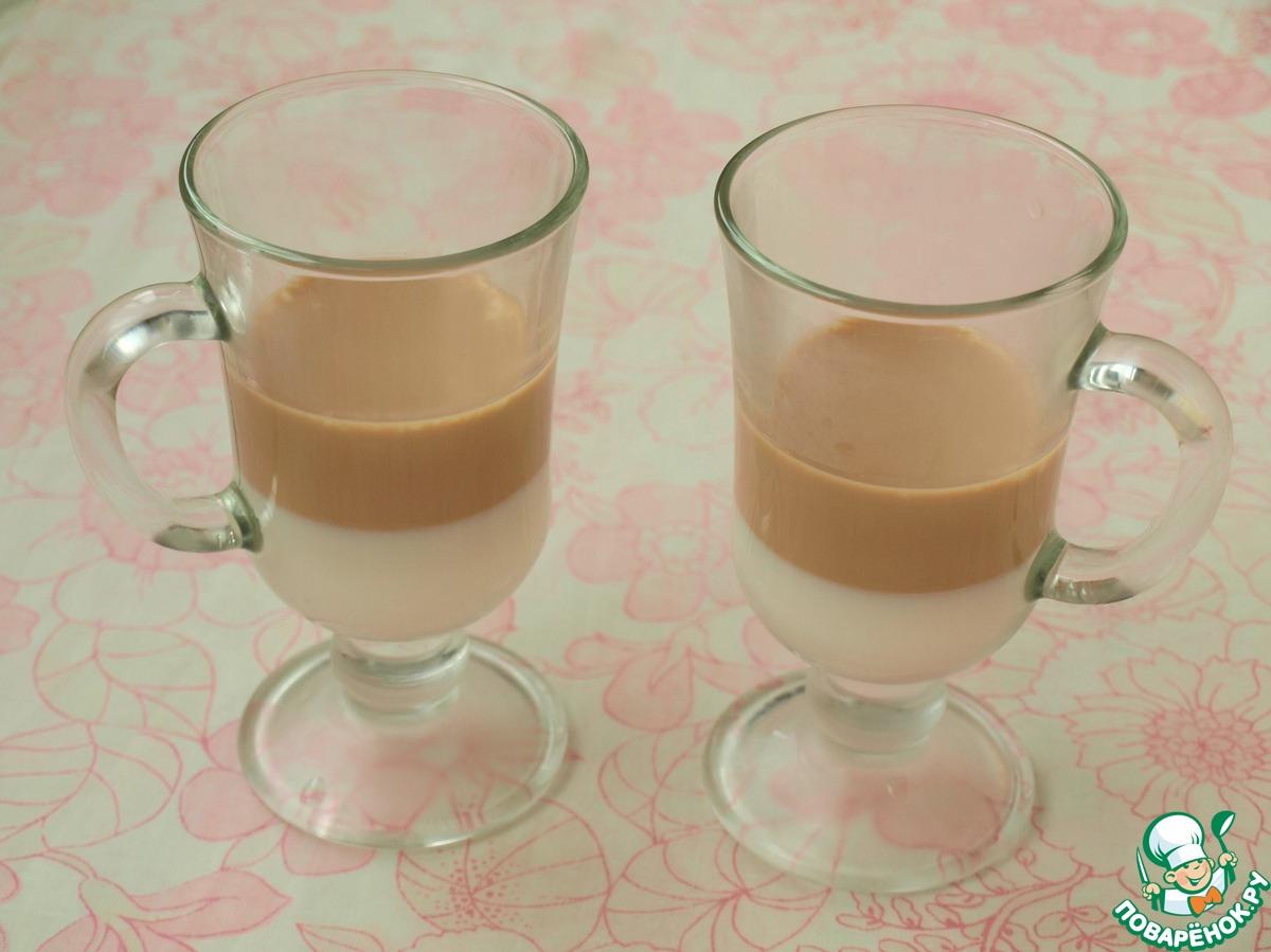 Молочно-кофейное полосатое желе